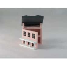 Mini casita en miniatura de color rosa