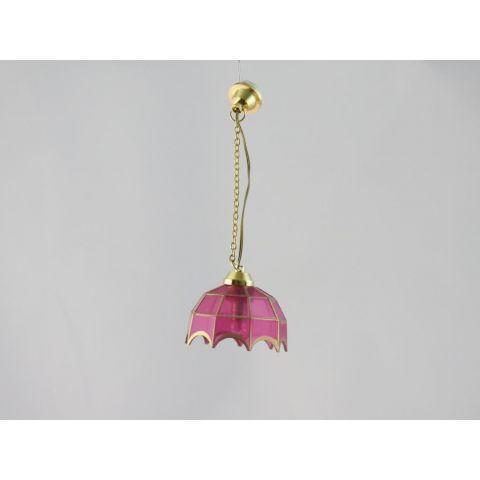 Lámpara de techo en miniatura estilo Tiffany color rosa