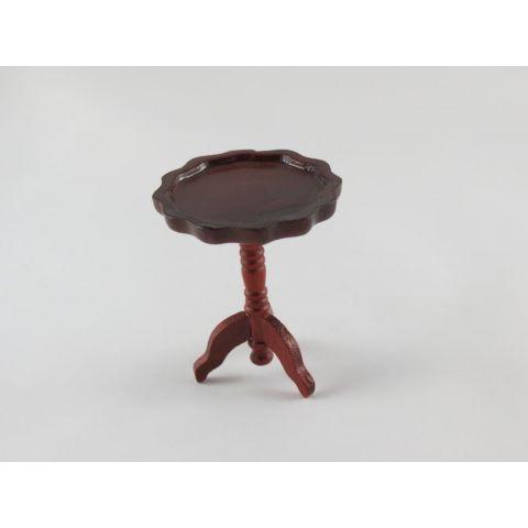 Mesa en miniatura auxiliar color caoba redonda